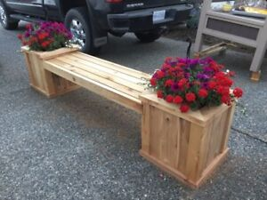 Cedar planters and bench