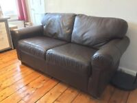 Brown leather 2 seater Hamra IKEA sofa, good condition (see photos)