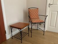 Wrought iron chair and side table