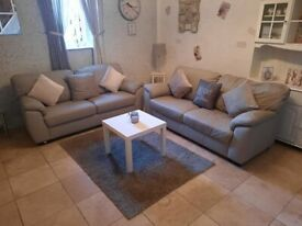 Beautiful large Grey Leather Argos 2 x 2 seater sofas ultimate comfort very good condition stylish