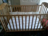 Mamas and Papas cot with mattress and waterproof cover
