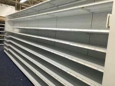 Photo Gondola Shelving Madix White Island Used Store Shelves Grocery Metal Double Side