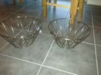2 x Metal Fruit Bowls - industrial vintage style - brand new still have tags attached