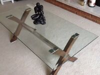 Beveled edge glass top coffee table