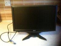 "Acer Monitor (G195HQV) 18.5"" VGA LCD WIDESCREEN 1366X768 D-SUB VGA ANALOGUE INPUT"