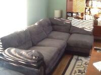 Grey fabric corner sofa VGC
