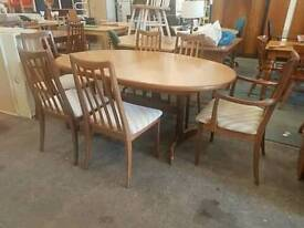 G-plan extending table & 6 chairs