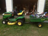 john deer lawn mower with trailer
