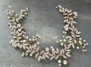 Gold diamond wedding hair piece