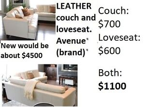 LEATHER CREAM COLORED SOFA/LOVESEAT. SIDE TABLES