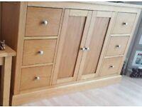 Morris Furniture solid wood with oak veneer finish sideboard
