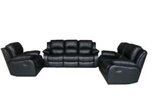 3 PCS BLACK BONDED LEATHER FURNITURE COUCH , LOVE SEAT , RECLINER SET CHEAPEST IN CANADA
