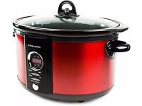 Andrew James Slow Cooker, red, 6,5 Litres