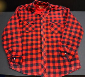 Quilted Red Plaid Men's Work Shirt Size XL