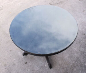 Solid Wood Round Table with Protective Glass