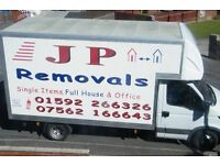 J P REMOVALS, LARGE LOCAL OR DISTANCE REMOVALS AND STORAGE.