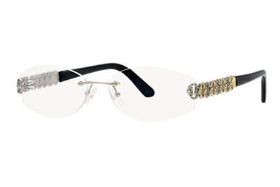 Caviar 2347 C 35 Rimless Gold/Silver w/ Clear Crystals Eyeglasses Italy 56mm (Silver Rimless Eyeglasses)