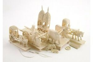 Indian 19th century carved ivory ceremonial carriages