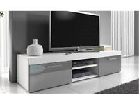 BOXED WHITE/GREY HIGH GLOSS 140CM TV UNIT RRP £149 *BARGAIN PRICE & CHEAP*