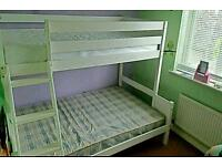 Wooden white triple sleeper bunk bed *mattresses inc*