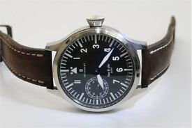 Gents Steinhart NAV B UHR 6497 Pilots Watch with dark brown leather strap