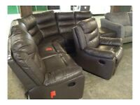 Brown Leather Reclining Corner Sofa & Chair Great Condition Delivery Available