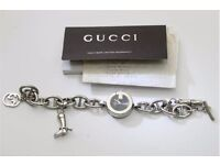 Ladies Gucci Silver Model 107 with full charms including boot etc vintage