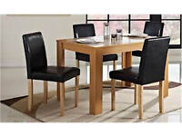 BOXED OAK woodern Large Dining Table with 4 Chairs Oak Room Set *ABOLUTE BARGAIN* BE QUICK