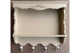 Cream Wooden Bergere Wall Rack and Coat Hooks Shabby Chic