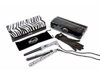 Brand New Yogi Gift Set Twin Pack Straightener And Wand In Zebra Pattern RRP £129.99.