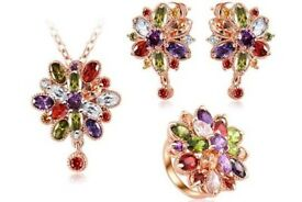 BRAND NEW ROSE GOLD PLATED MULTI STONE NECKLACE EARINGS AND BRACELET - FLORAL