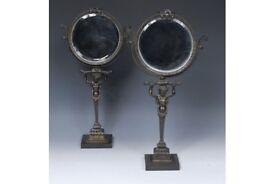 Rare Estate French Empire Bronze Figural Vanity Ornate Mirror pair
