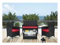 Rattan 4 Piece Garden Furniture Set Black & Red Cushions Static Caravan Decking Patio NEW £299