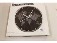 A Fine Example of A Large Brushed Aluminium Wall Clock 30cm With A Map of The World On OVER 10 AVAIL
