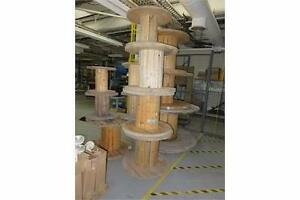 Large wooden wire reels,