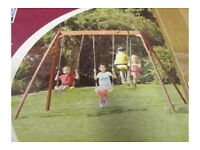 brand new Plum Wooden Double Swing & Glider Set