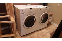 GE FRONT LOAD KING SIZE WASHER + DRYER SET WHITE