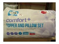 sealy comfort mattress topper & pillow set double size b/new in packaging