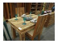 Lovely Brand New Dining Room Table And Two Chairs Mixed Wood Very Unusual Rrp 1200
