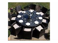 8 Seater Rattan Garden Dining table and chairs