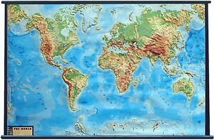 Large Physical World Map