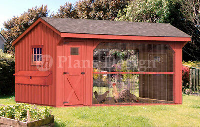 Large Chicken Duck Coop Plans 6 By 12 Saltbox Roof Style Design 70612cs