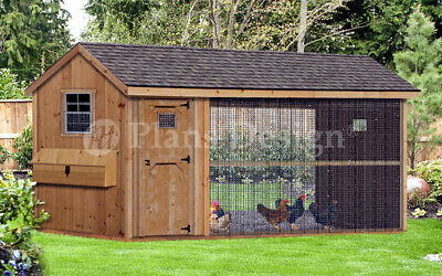Large Chicken Duck Coop Plans 6 By 12 Gable A-frame Roof Style 70612cg