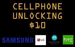 Unlock most Samsung, LG, HTC and Motorola for $10 EACH!