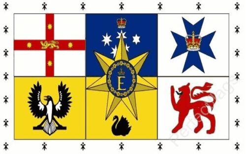 AUSTRALIA ROYAL STANDARD FLAG - AUSTRALIAN NATIONAL FLAG - Hand, 5x3 Feet