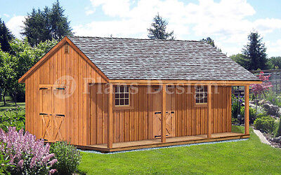 Guest Home Office (20' X 28' Storage Shed, Home Office, Guest House, Cottage or Cabin Plans #P52028 )