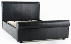 Madrid KING Faux Leather Bed *Frame Only* BLACK Headboard H:107cm, Footboard H:53.5cm, L241, W160cm