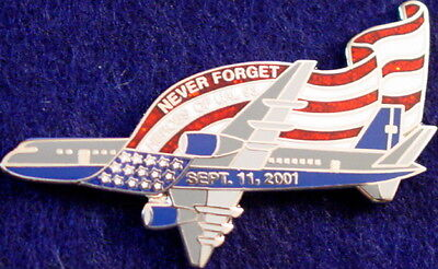 NEVER FORGET 9/11 PIN Heroes UAL Flight #93 September 11th 911 MEMORIAL TRIBUTE