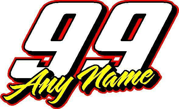 Race number with name custom vinyl decal sticker 5