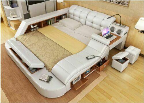 Real Genuine leather bed frame Sofa Modern Soft Beds Home Bedroom Furniture